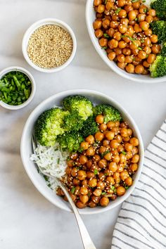 Sticky Sesame Chickpea Recipe (In 15 minutes!) from Vegan Pantry Food For Emergency Preparedness: Many people have been asking for vegan recipes using non-perishable items such as canned food, dry pantry staples, etc. Vegan Chickpea Recipes, Vegetarian Recipes, Cooking Recipes, Chickpea And Rice Recipe, Budget Recipes, Broccoli Recipes, Rib Recipes, Cream Recipes, Quick Recipes