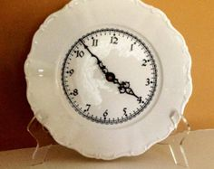 Check out our unique wall clocks selection for the very best in unique or custom, handmade pieces from our shops. Kitchen Wall Clocks, Unique Wall Clocks, Vintage Marketplace, Porcelain, Plates, Handmade, Etsy, Licence Plates, Porcelain Ceramics