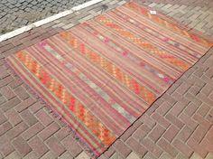RUSTIC area rug, Muted color Kilim rug, Vintage Turkish kilim rug, kilim rug, kelim rug, vintage rug, PASTEL oushak rug, rugs