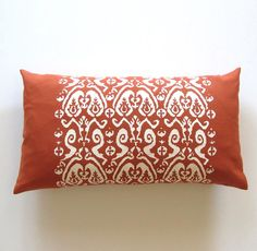 Items similar to Ikat Paisley Bolster Pillow Cover - Burnt Orange / Off-White on Etsy Burnt Orange Decor, Orange Orange, Bolster Pillow, Bed Pillows, Cape Cod Beaches, Ikat, Decorative Pillows, Paisley, Pillow Covers