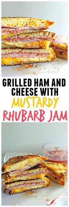 Oooey gooey goodness with this grilled ham and cheese with mustardy rhubarb jam! Tangy mustard blended with homemade rhubarb jam takes this grilled sandwich to the next level!