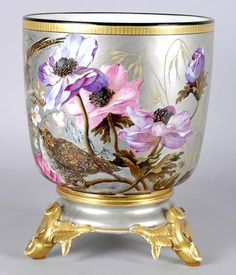 French Enameled Porcelain Jardiniere on Stand