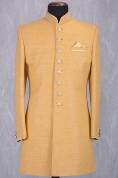 Canary Yellow Jute Silk Bead Embroidered IndoWestern Sherwani-IW899
