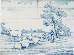Boerenlandschap op tegels