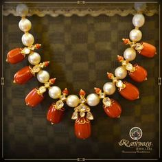 Contemporary coral beads and south sea pearls necklace sets apt for any attire Coral Jewelry, India Jewelry, Bridal Jewelry, Kids Jewelry, Gold Jewellery Design, Bead Jewellery, Beaded Jewelry, Jewelry Bracelets, Pearl Necklace Designs