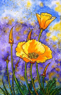 Original watercolor painting on paper. Bright California Poppies in impressionist illustrative style. Please note that the colors of the original paintings are always slightly different than ...