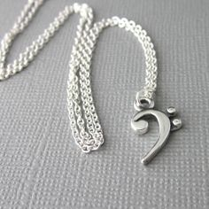 Sterling Silver Bass Clef Note Necklace Music Jewelry Gifts