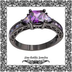 Black And Purple Ring Amethyst Cz Geometric by FineGothicJewelry