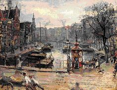 Het Singel in Amsterdam (herfst) vanuit Koningsplein richting Munt Isaac Lazarus Israels