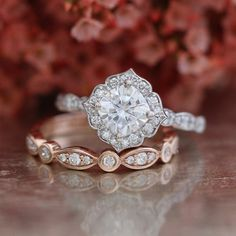 Cushion Cut Forever One Moissanite Engagement Ring in 14k White Gold and Rose Gold Bezel Scalloped Diamond Wedding Band Set (Mix & Match)