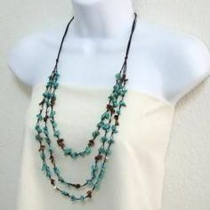 Three-Strand Turquoise, Tiger's Eye and Pearl Necklace (5-6 mm)(Thailand) | Overstock™ Shopping - Great Deals on Necklaces