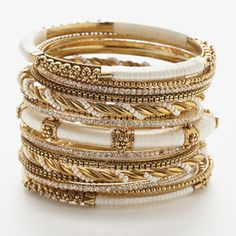 Rupal Bangles by Amrita Singh...I love Bangle Bracelets of All Kinds...As Long As They Aren't Too Wide...What A Beautiful Assortment!!  Love the White/Gold Mix, Too!!