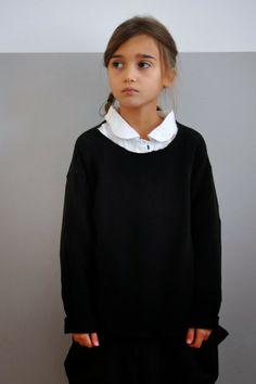 girl cute little small kid kids style fashion black white simple monochrome