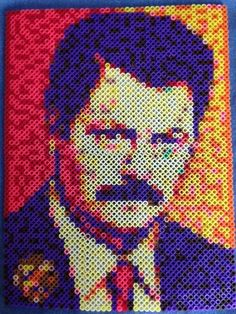 Ron Swanson Perler Portrait by Arwendycreations on Etsy.... Now I want to perler bead...