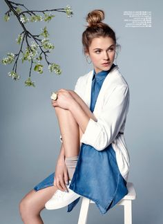 Xhibition - Jacket - Avenue, Denim dress - b.young, Shoes - Eurosko, Accessories - H&M Ss16, Denim, Womens Fashion, Jackets, Shopping, Accessories, Shoes, Dresses, Down Jackets