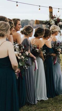 Babes in blue! Jenny Yoo Collection 2018 Bridesmaids, featuring romantic long luxe chiffon mismatched styles with flutter sleeves, halters and v-necks. These bridesmaids dresses shown in shades of blue and grey which are perfect for a classic, timeless an Navy Blue Bridesmaid Dresses, Grey Bridesmaids, Wedding Bridesmaid Dresses, Dress Wedding, Grey Dresses, Bride Dresses, Dusty Blue, Grey Bridal Parties, Blue Bridal