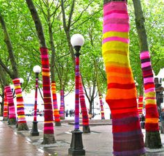 Totally SEUSSIAN!! 'Yarn Bombing' in a city that warmly welcomes this type of eco-art, Occidental Park in Seattle. This installation is called 'Artificial Light' and created by artist, Suzanne Tidwell. Photo via: Artsy Forager