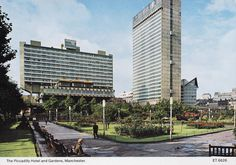 A 1970s postcard showing Manchester's Piccadilly Gardens, Plaza, Hotel and the Sunley Building (now City Tower).   Piccadilly Plaza Was built in 1959 and was finished in 1965.