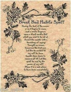 Break Bad Habits Spell Page for Book of Shadows BOS Pages Witchcraft Wicca Page Witch Spell Book, Witchcraft Spell Books, Wicca Witchcraft, Magick Spells, Blood Magick, Magic Spell Book, Wiccan Altar, Witchcraft Spells For Beginners, Healing Spells