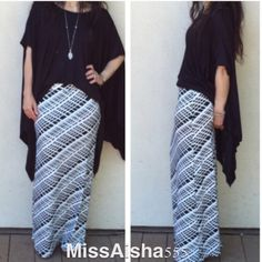 🔴 Black  and white modern print skirt  BOGO SALE Chic straight cut black and white modern print maxi skirt Tunic available listed in my closet/boutique purchase more then 1 item and get 10% off Skirts