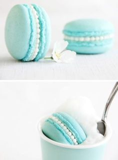 Tiffany Blue Macarons with Orange Blossom Buttercream. I have a book on macarons and they are yummy. I also use white ganache with passionfruit or fresh/frozen raspberries that are to die for. Blue Macaroons, French Macaroons, Blue Macarons Recipe, Think Food, Love Food, Cupcakes, Cupcake Cakes, Just Desserts, Delicious Desserts