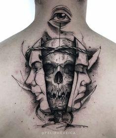 Tattoo-Masken und Totenkopf im Nacken Tattoo masks and skull in the neck Small Tattoos Men, Small Tattoos With Meaning, Unique Tattoos, Tattoos For Women, Cool Tattoos, Face Tattoos, Skull Tattoos, Sleeve Tattoos, Skull Face Tattoo