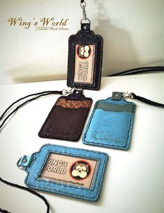 Leather ID Holder/ ID Card Holder/ Student ID Badge by WingsWorld, $25.00