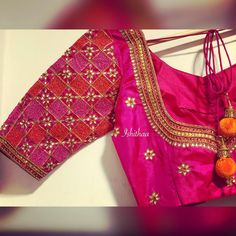 The Best Chennai Bridal Blouse Designers Just For You - Want heavy bridal blouse to wear with your wedding lehenga/saree? These Chennai Bridal Blouse Designers make extraordinary blouses as per your requirement. Wedding Saree Blouse Designs, Pattu Saree Blouse Designs, Silk Saree Blouse Designs, Fancy Blouse Designs, Pink Saree Blouse, Gold Blouse, Blouse Patterns, Sari Design, Blouses Roses