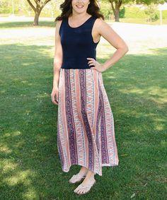Cache geometric stripe maxi dress