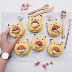 Pikachu donuts with Pokeball donut holes by Anna Chan (@annachaannn)