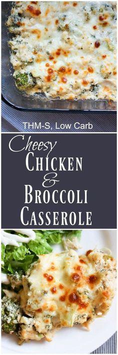 Cheesy Chicken and Broccoli Keto Casserole (THM-S, Low Carb)
