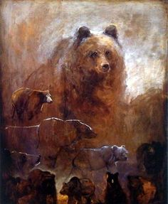 A giant grizzly bear stands tall, looking down on the large group of bears…