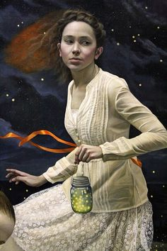 Andrea Kowch (detail - light keepers), ACRYLIC