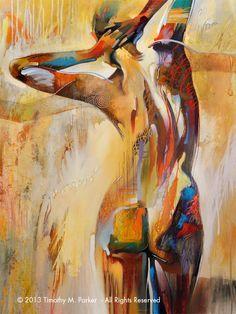 Nude Art Abstract Figure Art Modern Nude Painting by FigureArt