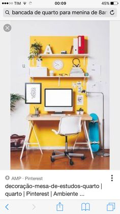 You won't mind getting work done with a home office like one of these. See these 20 inspiring photos for the best decorating and office design ideas for your home office, office furniture, home office ideas Home Office Colors, Home Office Design, Home Office Decor, Office Ideas, Office Designs, Workspace Design, Small Workspace, Office Style, Creative Workspace