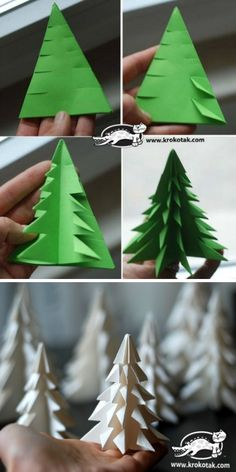 Christmas Tree Paper Craft, Homemade Christmas Tree, How To Make Christmas Tree, Homemade Christmas Decorations, Christmas Origami, Christmas Tree Crafts, Holiday Crafts, Diy Weihnachten, Making Ideas