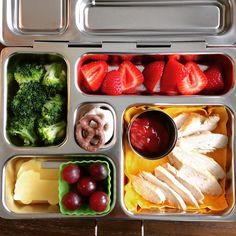 Omg kindergarten starts on Monday  and I'm still practicing my PlanetBox lunches! My son has been eating everything (except for 3 pieces of chicken today), so I think so far so good . Left-over chicken with ketchup, strawberries, cooked broccoli, cheese, grapes, and pretzels. #planetbox #planetboxlunches #schoollunch