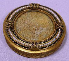 Antique Enamel Pearl Gilt Metal Compact
