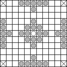 "Hnefatafl (Viking board game): 11x11 squares in board, 24 ""raiders"" pieces, 12 ""defenders"" plus ""King"" in center."