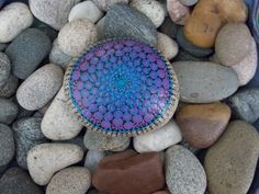 Mandala Stone Large Bright Blue and Purple Painted by KailasCanvas