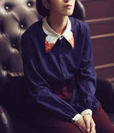 FineArt Collection.  Dark blue shirt with butterfly collar, the collar part is designed as butterfly wings, the orange color brights with the dark