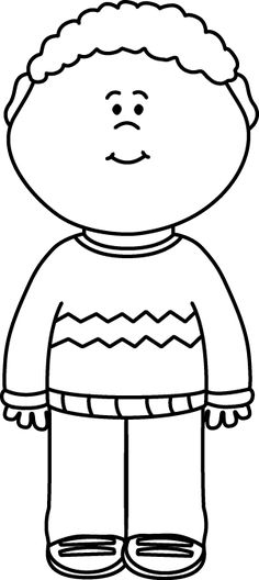 Black and White Kid Wearing a Sweater Clip Art - Black and White Kid Wearing a Sweater Image