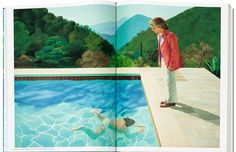 A page from David Hockney. A Bigger Book featuring Portrait of an Artist (Pool with Two Figures) © David Hockney, courtesy of Taschen. David Hockney, Swinging London, Sumo, Photomontage, Ecole Art, House Paint Exterior, Portrait Photo, House Painting, Graphic