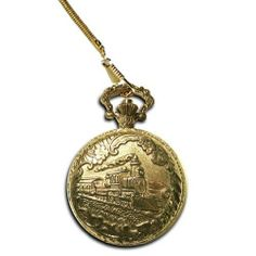 Gold-Tone Train Pocket Watch General Railroad Timepiece. $16.99. Antiqued gold-tone case with a train design offers distinguished style.. Bronze face with gold-tone Arabic numerals lends a traditional appearance.. Removable chain clips to your pants' pockets, belt loops or wallet. A gentleman's timepiece. Show off your classic style with this men's Relic pocket watch.. Push button opens the case to reveal the time.. Save 77%!