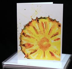 Set of  Original Watercolor PRINT- Slice of Pineapple, Greeting Cards/ Note Cards  (Set of four), Fruit cards by McKinneyx2Designs on Etsy https://www.etsy.com/listing/453381032/set-of-original-watercolor-print-slice