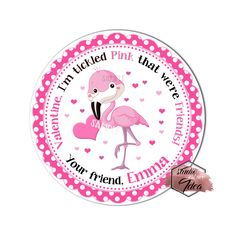 """Happy Valentine's Day Customized 2.5"""" Printable Tags-Pink Flamingo-Heart Valentine's Tag- DIY Personalized Tags-Digital File Valentine Theme, Happy Valentines Day, Printable Tags, Printables, Personalized Tags, Diy Stickers, Pink Flamingos, Cute Pink, Sticker Paper"""