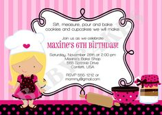 Baking Party Birthday Invitation  3 girls to choose by jcbabycakes, $12.00