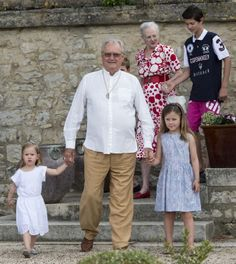 (L-R) Denmark's Princess Josephine, Henrik, Prince Consort, Princess Isabella, Queen Margrethe II and Prince Nikolai attending a Photocall at Chateau de Cayx, 11.06.2014 in Luzech, France.