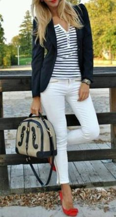 Red shoes , navy + white