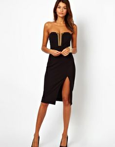 ASOS Midi Pencil Dress With Bust Plate